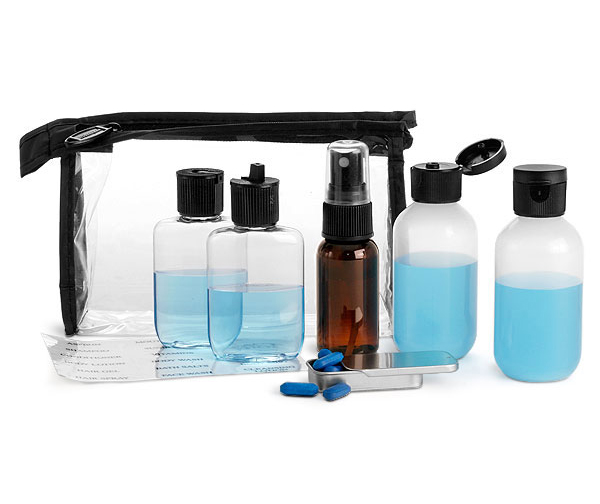 Travel Kits, Clear Vinyl Bags w/ Black Trim and Travel Size Containers