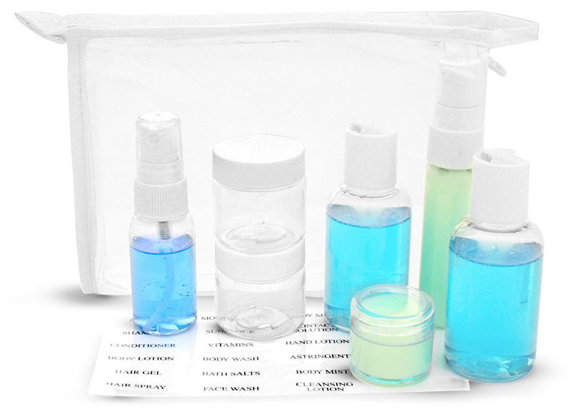 Travel Kits, Clear Vinyl Bags with White Trim and Travel Size Containers