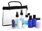 Clear Vinyl Bags w/ Black Trim and Travel Size Containers
