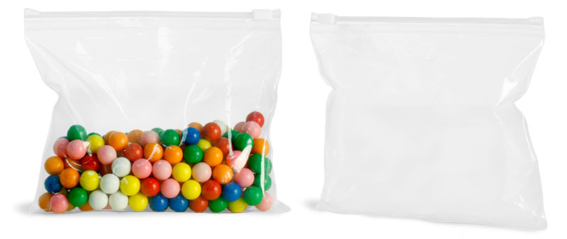 Plastic Bags, Clear Poly Plastic Bags w/ Slide Zippers