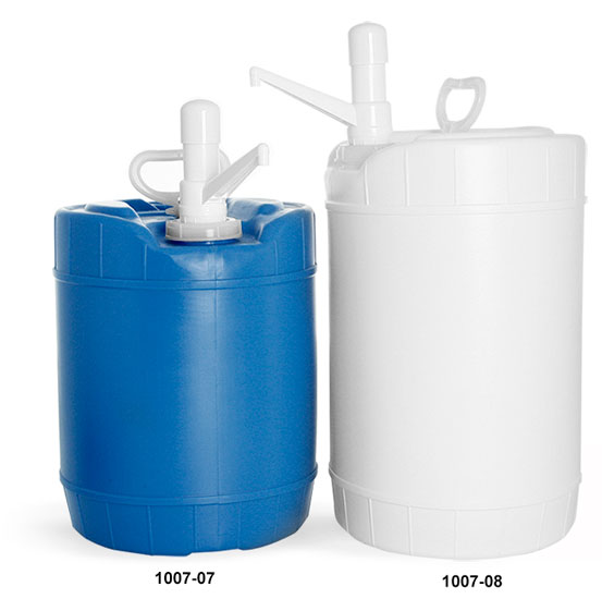 Storage Drums, HDPE Plastic Round Drums w/ Dispensing Pumps