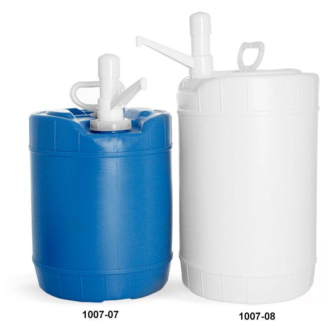 Storage Drums, HDPE Plastic Round Drums w/ Dispensing Pumps