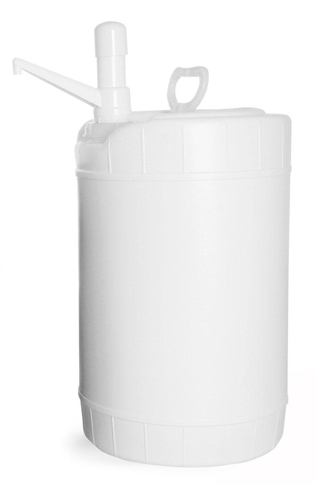 6 gal White Storage Drums w/ Dispensing Pumps