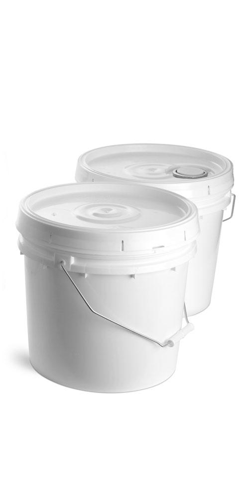 3.5 gal w/ Cover, Rieke Spout White Plastic Pails w/ Reilke Covers