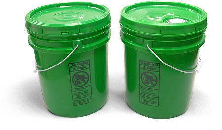 Plastic Pails, Green Pails w/ Plastic Lids
