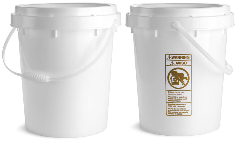 White HDPE Twist and Lock Pails w/ Plastic Handles