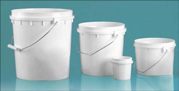 Plastic Pails, White HDPE Pails