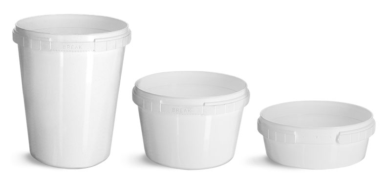 White Polypro Tamper Resistant Tubs (Bulk), Caps NOT Included