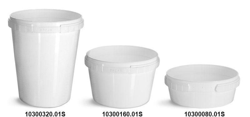 Plastic Tubs, White Polypro Tamper Resistant Tubs (Bulk), Caps NOT Included