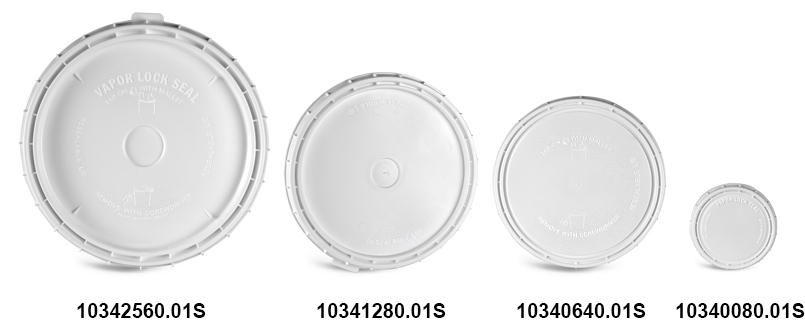 Plastic Lids, White Vapor Lock Covers