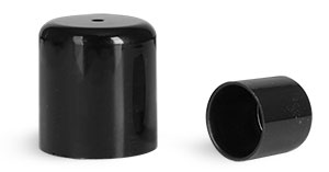 For .15 oz Tube Plastic Caps, Black Smooth Plastic Friction Fit Caps for Round Lip Balm Tubes