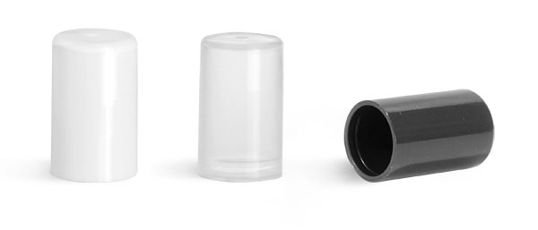 14 mm, White Plastic Caps, Smooth Plastic Friction Fit Caps for Slim Line Lip Balm Tubes