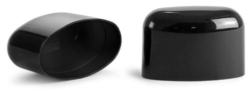 Plastic Caps, Black Polypropylene Dome Caps For Black Deodorant Tubes