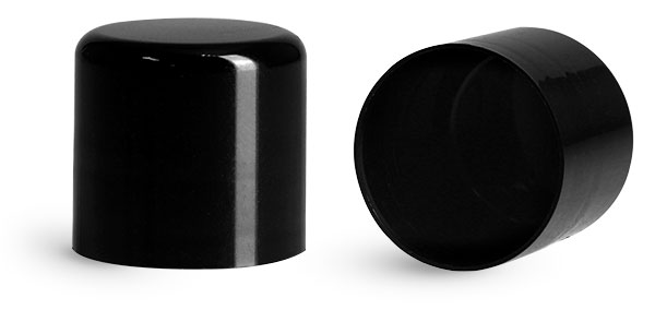 Plastic Caps, Black Smooth Polypropylene Friction Fit Caps for Round Lip Balm Tubes