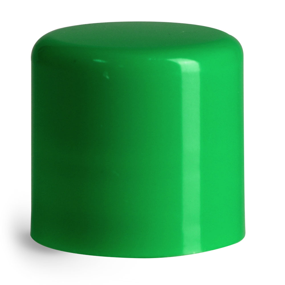 14 mm Green Smooth Polypropylene Friction Fit Caps for Lip Balm Tubes