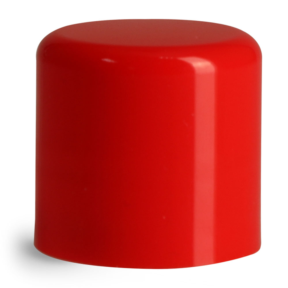 14 mm Red Smooth Polypropylene Friction Fit Caps for Lip Balm Tubes