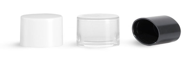 White Plastic Caps, Smooth Plastic Friction Fit Caps for Oval Lip Balm Tubes