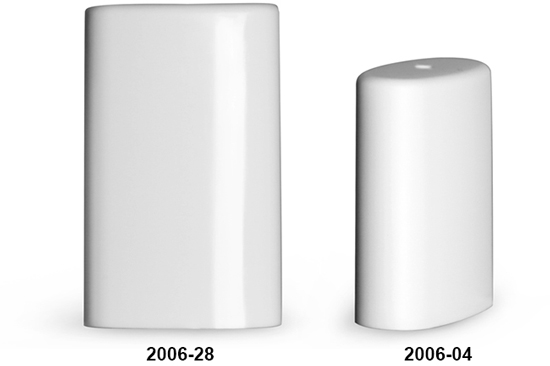 Plastic Caps, White Polypropylene Caps For Oval Deodorant Tubes