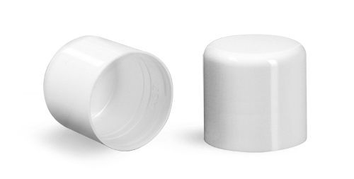 Plastic Caps, White Smooth Polypro Friction Fit Caps for Round Lip Balm Tubes
