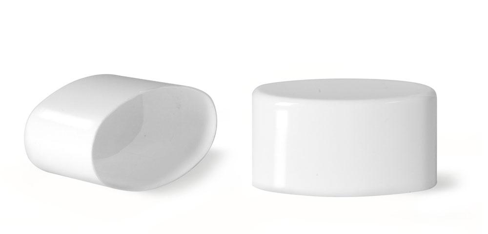 Plastic Caps, White Polypro Flat Deodorant Tube Caps