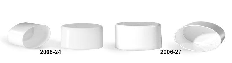 Plastic Caps, White Polypropylene Flat Deodorant Tube Caps