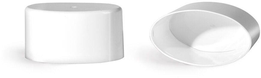 Plastic Caps, White Polypro Flat Deodorant Caps