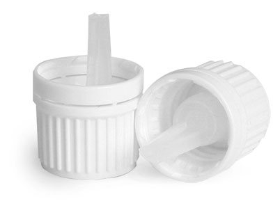 Dispensing Caps, White Plastic Tamper Evident Caps w/ Orifice Reducers