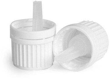 White Plastic Tamper Evident Caps w/ Orifice Reducers