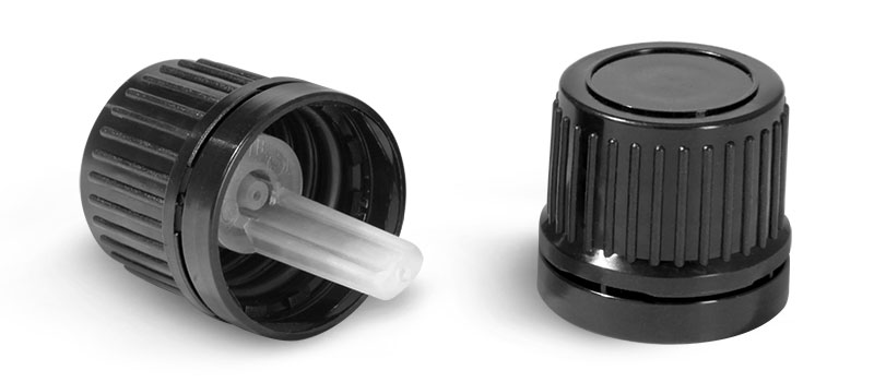 Dispensing Caps, Black Plastic Tamper Evident Caps w/ Orifice Reducers