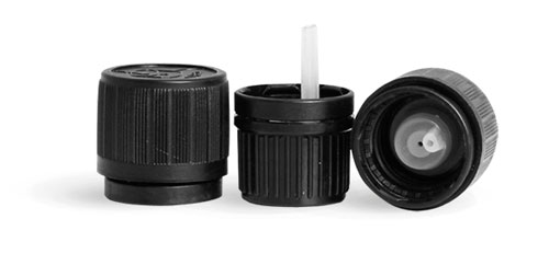Child Resistant Caps, Black HDPE Child Resistant Caps w/ Universal Picture & Orifice Reducers