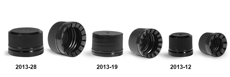 Plastic Caps, Black Polypropylene Ribbed Tamper Evident Caps