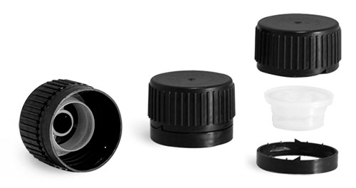 Dispensing Caps, 28 Mm Black Polypropylene Ribbed Caps w/ Tamper Evident Seal and Pouring Inserts