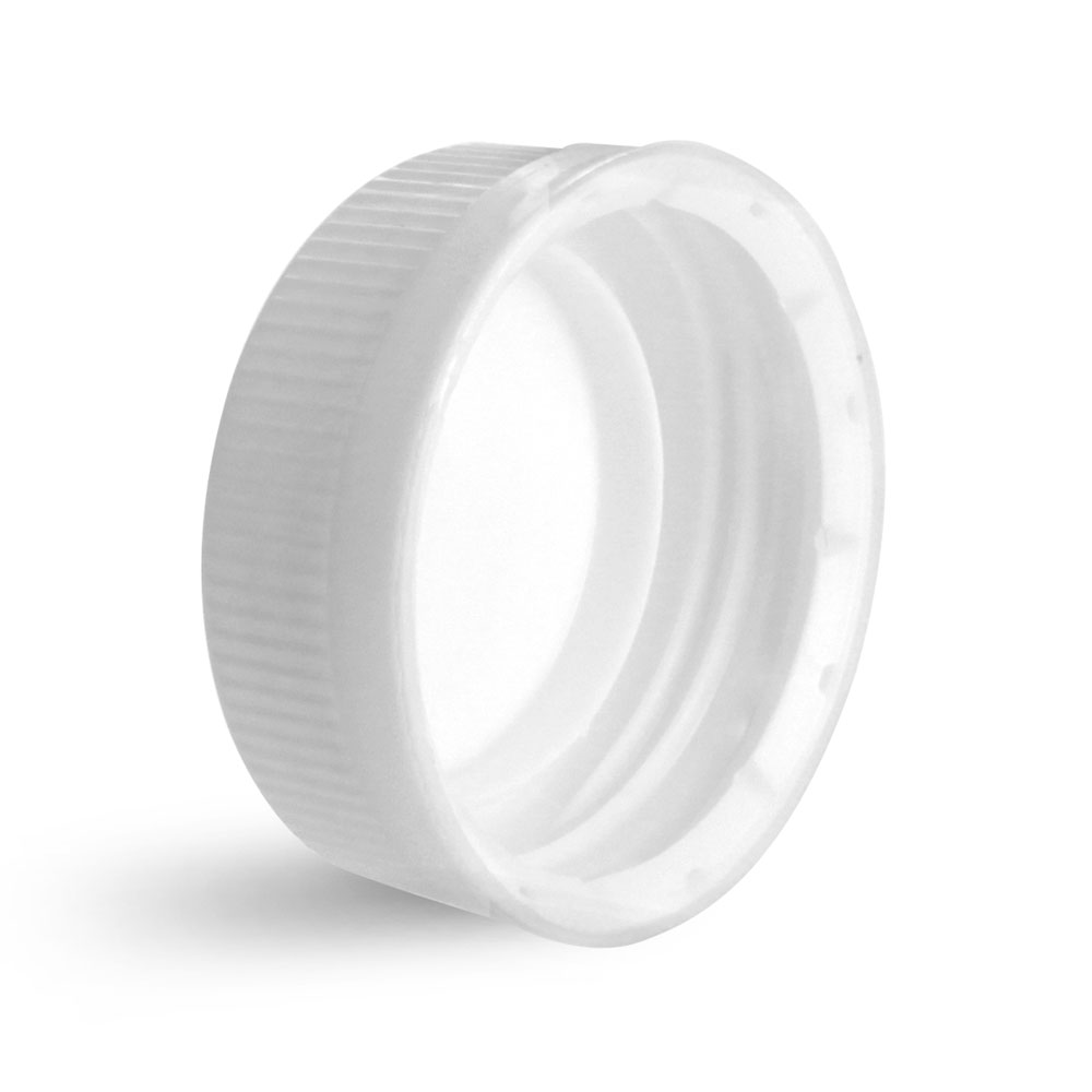 38 mm White Plastic Caps, White Ribbed Polypropylene Tamper Evident Caps