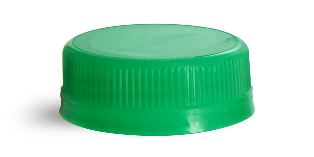 38 mm Green Plastic Caps, Green Ribbed Polypropylene Tamper Evident Caps