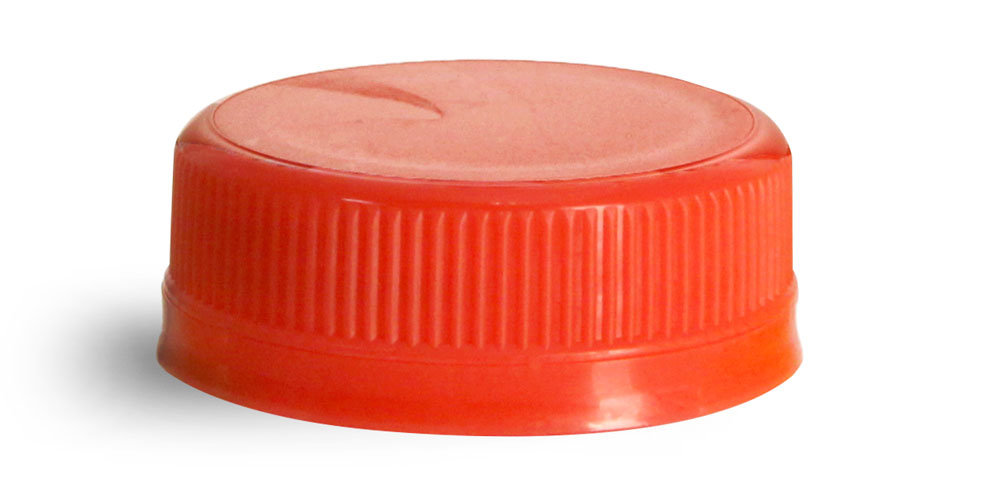 38 mm Red Plastic Caps, Ribbed Polypro Tamper Evident Caps