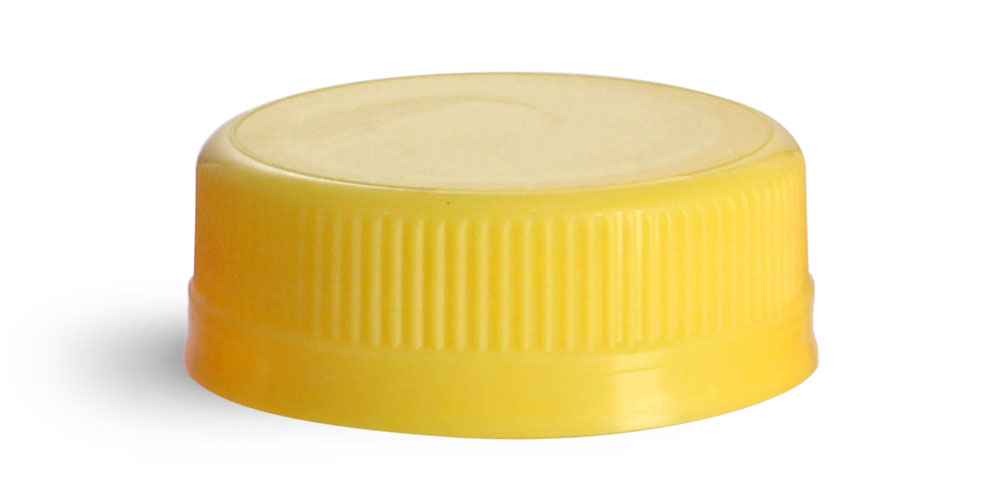 38 mm Yellow Plastic Caps, Yellow Ribbed Polypropylene Tamper Evident Caps