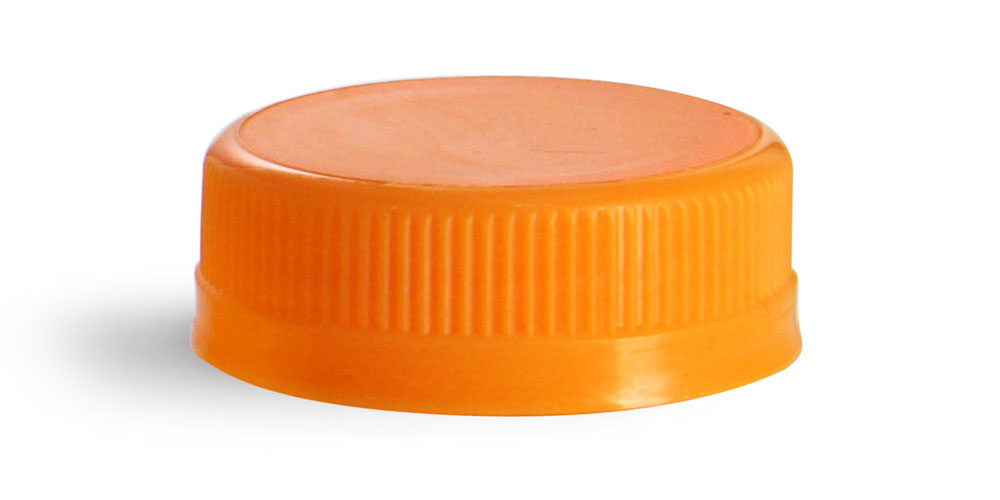38 mm Orange Plastic Caps, Ribbed Polypro Tamper Evident Caps