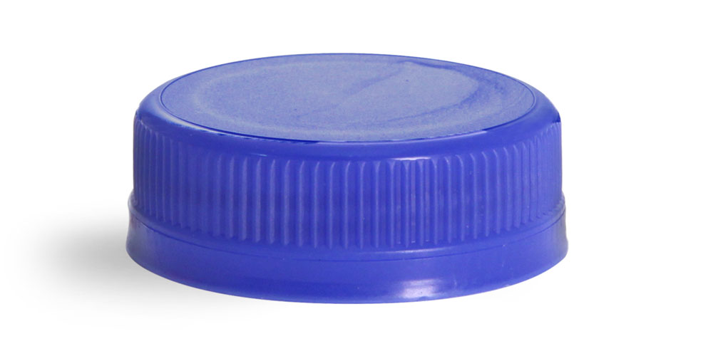 38 mm Blue Plastic Caps, Ribbed Polypro Tamper Evident Caps