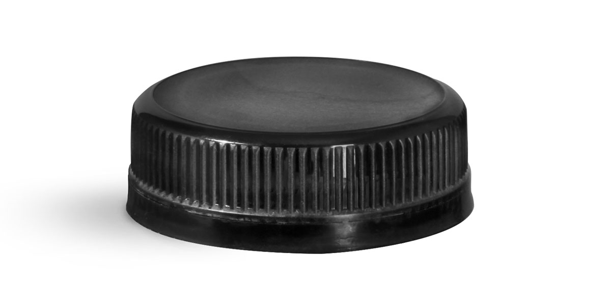 38 mm Black Plastic Caps, Black Ribbed Polypropylene Tamper Evident Caps