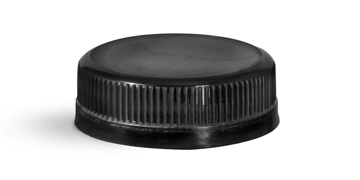 38 mm Black Plastic Caps, Ribbed Polypro Tamper Evident Caps