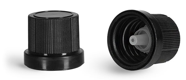 Dispensing Caps, Black Polypropylene Tamper Evident Caps w/ LDPE Orifice Reducers