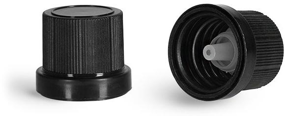 Plastic Caps, Black Polypropylene Tamper Evident Caps w/ Orifice Reducers