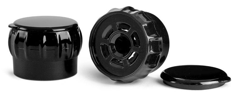 38 mm Dispensing Caps, Black Polypropylene Easy Grip Spice Grinder Caps