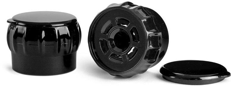 Dispensing Caps, Black Polypropylene Easy Grip Spice Grinder Caps