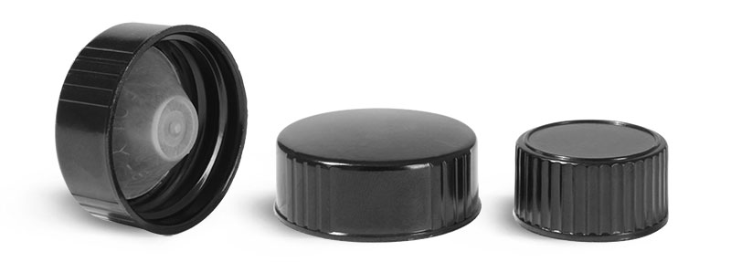 Plastic Caps, Black Phenolic Cone Lined Caps