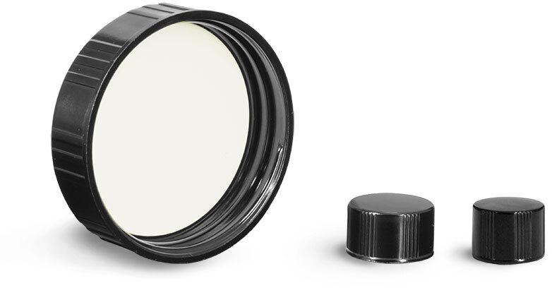 Black Ribbed Phenolic PV Lined Caps