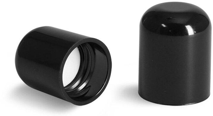 Plastic Caps, Black Smooth Phenolic Dome F217 Lined Caps