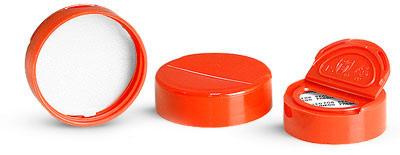 Dispensing Caps, Red Polypropylene Spice Caps w/ Pressure Sensitive Liners