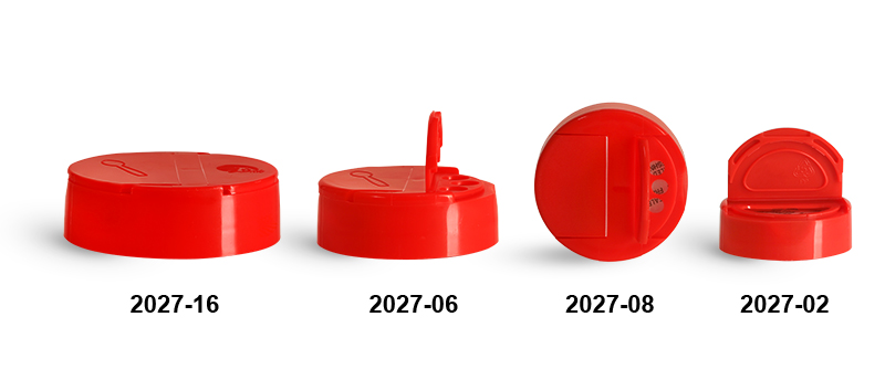 Dispensing Caps, Red Polypropylene Spice Caps w/ Pressure Sensitive Liners