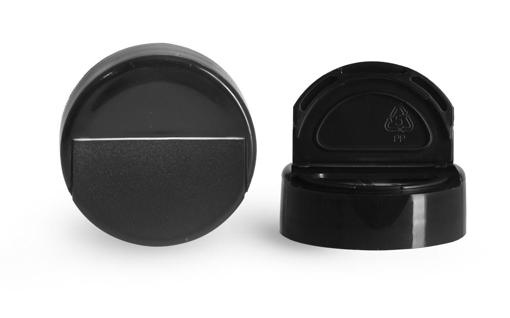 38/400 Dispensing Caps, Black Polypropylene Spice Caps w/ Pressure Sensitive Liners